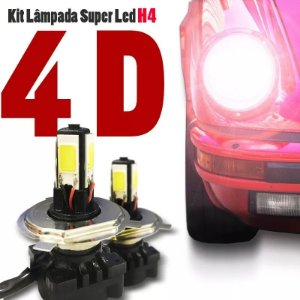 Kit Lâmpada Super Led H4 4d 6000k Carro Alta Baixa 12v 24v