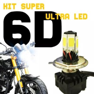 Kit Super Ultra Led H4 6d Moto Lampada 6000k
