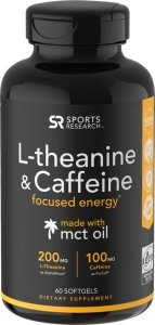 L Theanine e Caffeine 60 softgels SPORTS Research FRETE GRÁTIS
