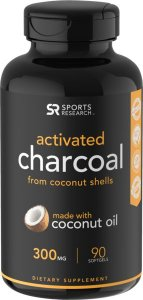 Coconut Activated Charcoal 300mg 90 Caps SPORTS Research FRETE GRÁTIS
