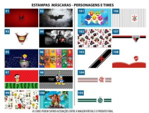 kit Mascara Personagens e Times ( pct c/ 2, 4 ou 8)