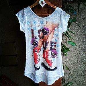 Camiseta feminina Love tenis