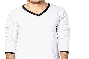 Camiseta Gola V Esportiva Masculina Manga Longa