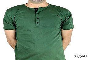 Camiseta Gola Portuguesa (Henley) Patê Colorido Modelo 3 Masculina com 4 Botões Manga Curta