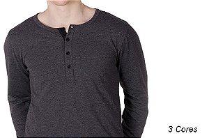 Camiseta Gola Portuguesa (Henley) Patê Colorido Modelo 2 Masculina com 4 Botões Manga Longa