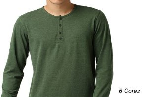 Camiseta Gola Portuguesa (Henley) Masculina com 4 Botões Mescladas Manga Longa