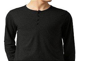 Edição Especial (Cores Super Mescladas) - Camiseta Gola Portuguesa Masculina com 4 Botões Manga Longa
