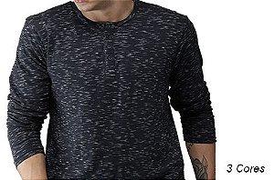 Camiseta Gola Portuguesa (Henley) Masculina com 4 Botões Rajadas Manga Longa