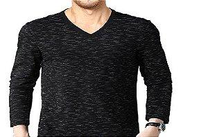 Camiseta Gola V Masculina Rajada Manga Longa