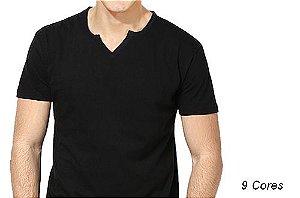 Camiseta Gola V Tesoura Masculina Manga Curta