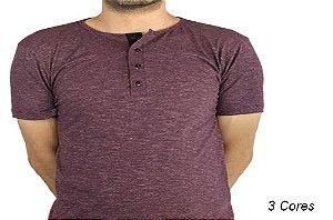 Camiseta Gola Portuguesa (Henley) Patê Colorido Modelo 5 Masculina com 4 Botões Manga Curta