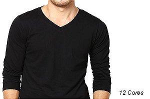 Camiseta Gola V Masculina Manga Longa