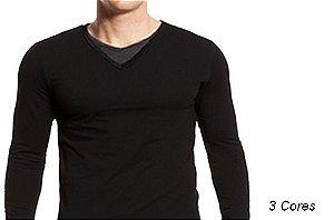 Camiseta Gola V Masculina Sobreposta Manga Longa