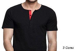Camiseta Gola Portuguesa (Henley) Patê Colorido Modelo 2 Masculina com 4 Botões Manga Curta