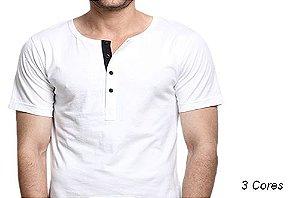 Camiseta Gola Portuguesa (Henley) Patê Colorido Modelo 1 Masculina com 4 Botões Manga Curta