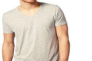Camiseta Gola V Masculina Mesclada Manga Curta