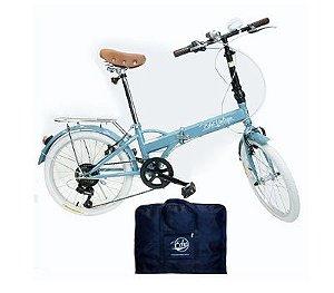 Bicicleta Dobrável Fênix Blue + Bolsa Para Transporte