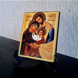 Ícone Sagrada Família mantos marrom e amarelo