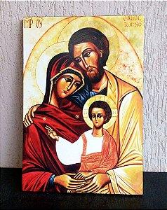 Ícone Sagrada Família mantos marrom e amarelo - São José ancião