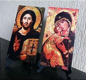 Conjunto Pantocrator do Sinai + Theotokos de Vladimir - a Virgem Mãe da Ternura - Portadora de Deus