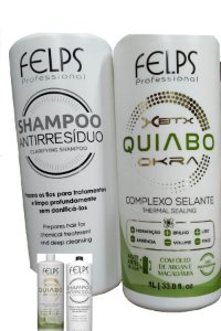 Kit Felps XBTX Okra Escova Progressiva + Shampoo Atirresiduos 2x2000ml