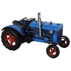 Miniatura de Trator 1955 Azul em Metal - 25x16 cm
