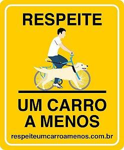 Placa Refletiva para Bicicleta - Rapaz e Cachorro de Bike