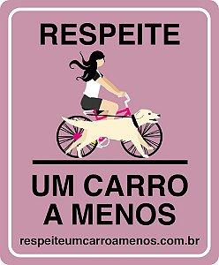 Placa Refletiva para Bicicleta - Menina e Cachorro de Bike
