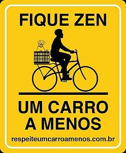 Placa Refletiva para Bicicleta - Rapaz e Cachorro na Cesta