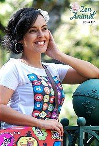 Blusa Baby Look - Gatinhos Coloridos