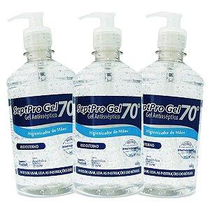 Kit com 3 - Álcool em Gel 70% Antisséptico 440g com válvula Pump - Septpro