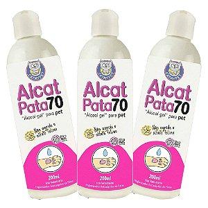Kit com 3 - Higienizador Antisséptico para Patas de Cães e Gatos - Alcat Pata 70