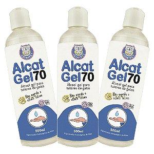Kit com 3 - Álcool em Gel para Tutores de Gatos - Alcat Gel 70