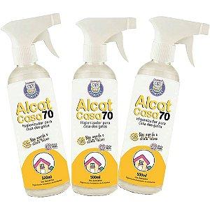 Kit com 3 - Álcool Higienizador Antisséptico de Ambientes e Objetos - Alcat Casa 70