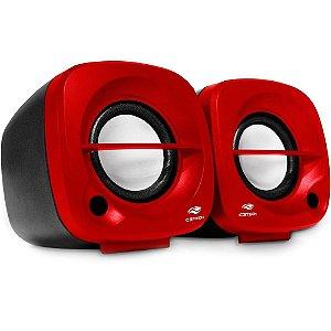 Caixa De Som C3Tech Sp-303Rd, Vermelha, 3 Watts Rms, Áudio 2.0, P2, Usb, Controle De Volume
