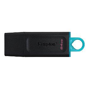 Pen Drive 64 Gb Kingston Dtx/64Gb Datatraveler Exodia, Usb 3.2, Preto