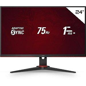 "Monitor Gamer Led 23.8"" Aoc Speed, 1Ms, 75Hz, Ips, Widescreen, Fhd, Hdmi, Vga, 24G2He5"