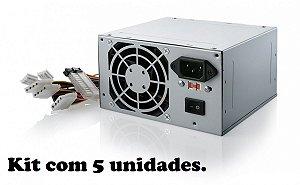 FONTE ATX 200 W DIVERSOS SEM CABO DE FORCA (KIT C/5 UNIDADES) GARANTIA: 30 DIAS TIB