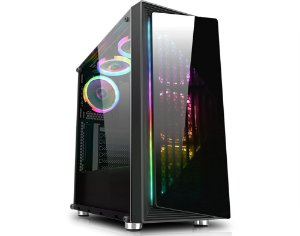 Gabinete Gamer Kmex Fox Ii Cg-03Re 1Fan/Painel Rgb Rainbow Controladora S/Fonte