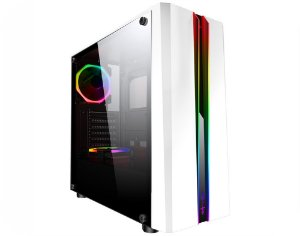 Gabinete Gamer Kmex Cg-05Rd Odyssey Branco Painel Rgb Rainbow Sem Fan Sem Fonte
