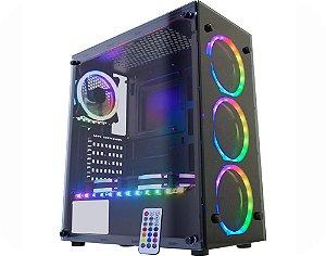 Gabinete Gamer Kmex CG-02N9 Atlantis 2, Vidros, 3 Fan Ring 1 Fita RGB Rainbow Sem Fonte
