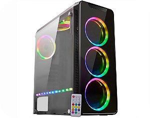 Gabinete Gamer Kmex CG-04G8 Infinity 4 , RGB Rainbow Placa, 3 Fan e Fit Sem Fonte