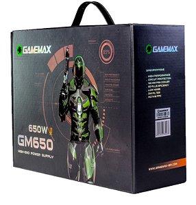 Fonte Atx 650 W Gamemax Gm650, 80 Plus Bronze, Com Pfc ativo, Preta