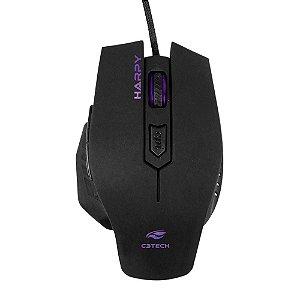 Mouse Gamer C3Tech Harpy Mg-100Bk, Preto, Ergonômico, 6 Botões, Óptico, 3.200 Dpi, Led, Usb