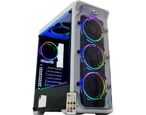 Gabinete Gamer Cg-02B1 White Trooper, Rgb Rainbow, 3 Fan + Fita, Sem Fonte
