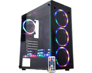 Gabinete Gamer Kmex Cg-05N9 Atlantis, Controle Remoto, 3 Fan + Fita, Sem Fonte