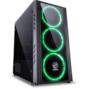 Gabinete Gamer Pcyes Saturn, 3 Fan, Sem Fonte, Preto, Led Verde, Mid Tower, Satptvd3Fca