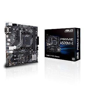Placa Mãe Am4 Asus Prime A520M-E, Ddr4 64Gb, M2/Nvme, Hdmi, Dsub, Dvi, Áudio 7.1