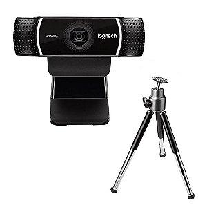 Webcam Logitech C922 Pro, Full Hd, 1080P, 15 Mega, Com Tripé, Preta, 960-001087