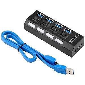 Hub Usb 3.0, 4 Portas, Md9 7873, Com Interruptor Energia + Cabo